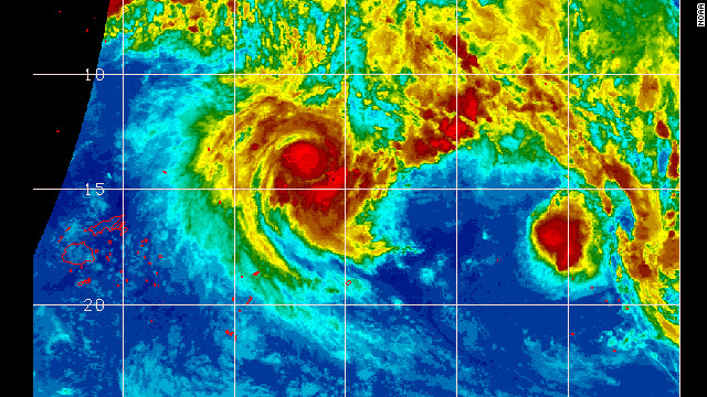 Satellite image of Cyclone Evan over Samoan islands
