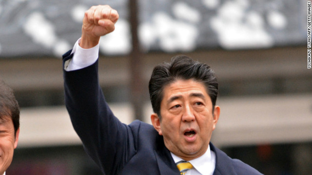 Japan's main opposition Liberal Democratic Party (LDP) leader Shinzo Abe on the campaign trail in Fukushima on December 4.