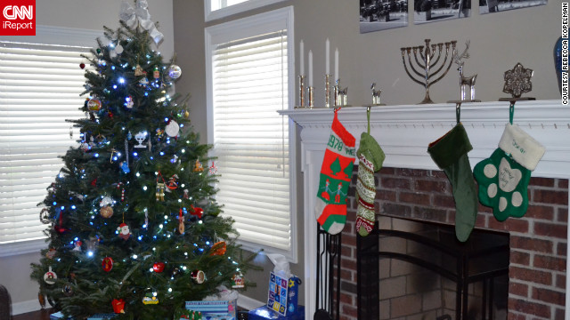 Rebecca Kopelman and her husband began celebrating Chrismukkah in their first year of dating, as he's Jewish and she's Methodist. It's a tradition they've been &lt;a href='http://ireport.cnn.com/docs/DOC-893989'&gt;celebrating for nine years&lt;/a&gt;.