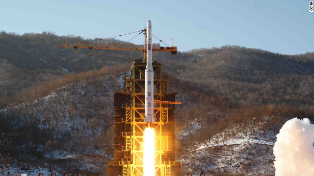 The Unha-3 rocket carrying &quot;the second version of satellite Kwangmyongsong-3&quot; lifts off Wednesday morning from the Sohae Space Center in North Korea's western Cholsan County.