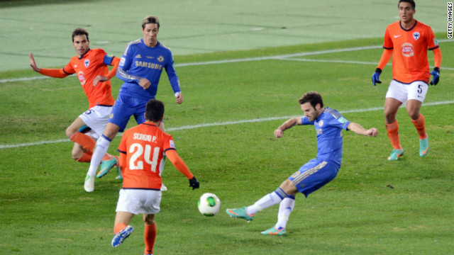 Juan Mata opens the scoring for Chelsea against Monterrey in Yokohama.