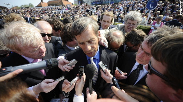 A media scrum surrounds Frankel's trainer, Henry Cecil. The celebrity racing figure is &quot;hugely loved&quot; by the public, according Bazalgette. 