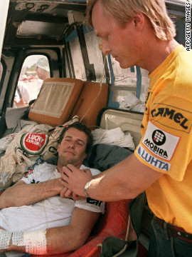 During the 1989 Dakar, Peugeot was fighting for victory with Ari Vatanen (R) and Jacky Ickx both driving identical cars. The former boss of Peugeot Jean Todt, who is now FIA president, became so concerned both might crash he opted to implement team orders. Taking a 10-franc piece out of his pocket, Todt flipped the coin -- with Vatanen winning the toss. Vatanen is pictured with Auriol during 1987 race.&lt;br/&gt;&lt;br/&gt;