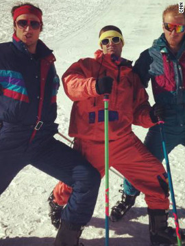 Svindal and fellow skiers Ted Ligety and James Heim go back to the 1980s for a photoshoot with sponsor Head.