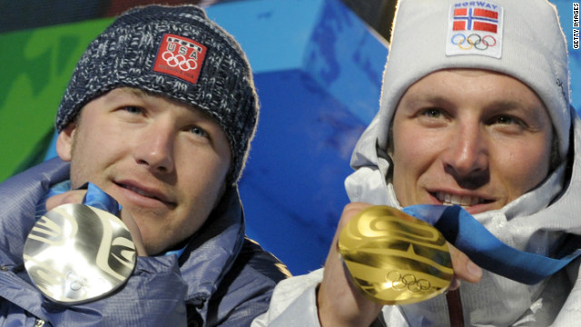 Aksel Lund Svindal, right, secured his first Olympic gold medal in the men's super-G at the 2010 Vancouver Games, while American star Bode Miller claimed silver.