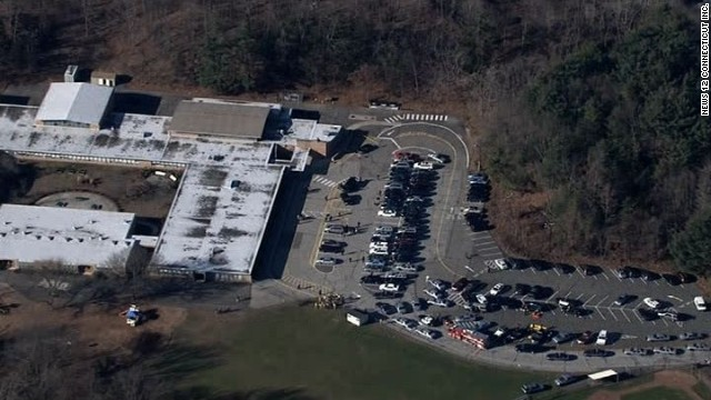An aerial view of Sandy Hook Elementary School as first responders surround the building following the mass shooting there in December.