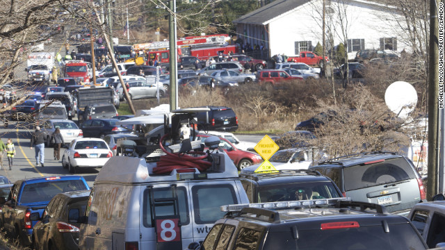 The streets around Sandy Hook Elementary are packed with first responders and other vehicles.