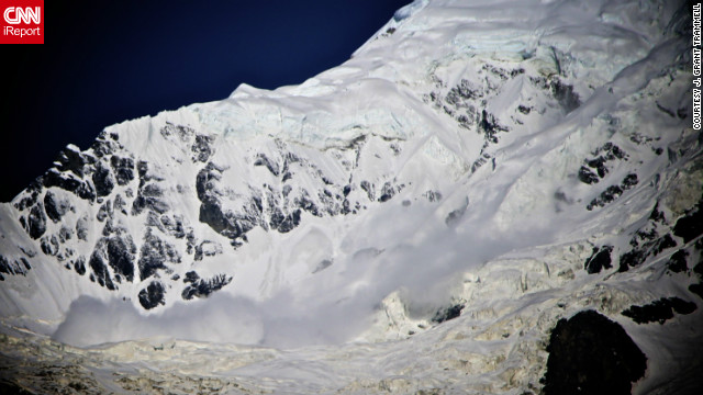 "An avalanche tumbled down the surrounding mountains of the Annapurna Base Camp in Nepal in June. After hiking for more than a week in the Himalayas, J. Grant Trammell decided to shoot some photos from the safety of base camp. ""It was a magically clear and still morning. I awoke just at 4 a.m. I made my way to a vantage point just above the Annapurna Base Camp and shot images for almost five hours."""