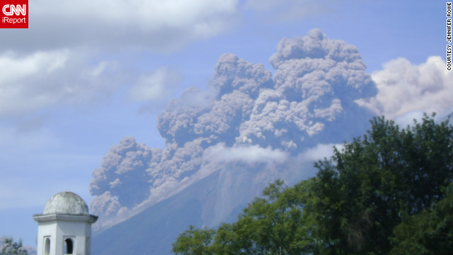 "Fuego Volcano spewed ash into the air in Antigua, Guatemala, shortly after it erupted in September. Photographer Jennifer Rowe said, ""People who have lived here for more than 20 years have told me this is the biggest eruption they've ever seen."""