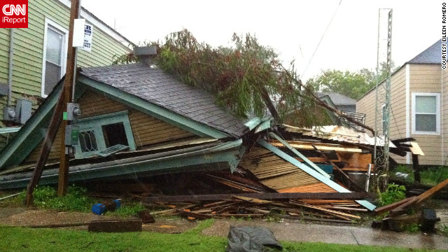 Many homes like this one collapsed in New Orleans, Louisiana after Hurricane Isaac hit in August. Eileen Romero was completely shocked when she came upon the scene only a block away from her home in New Orleans' Mid-City neighborhood. 