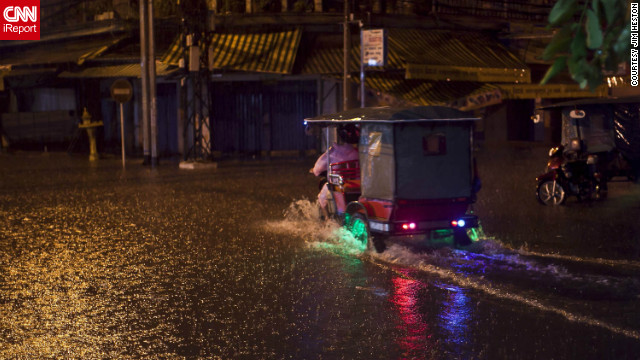 <a href='http://ireport.cnn.com/docs/DOC-856596'>Phnom Penh, Cambodia</a> was hit with a torrential downpour of rain in October, causing flash flooding. Jim Heston was in awe of the fact that his camera was able to capture falling rain as well as it did.