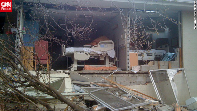 Hospital rooms were completely destroyed after a tornado hit Harrisburg, Illinois in February. Jane Harper, a nurse there, took this photo after moving patients out of harm's way. She went to check one of the patient rooms, and found that the room was no longer there.