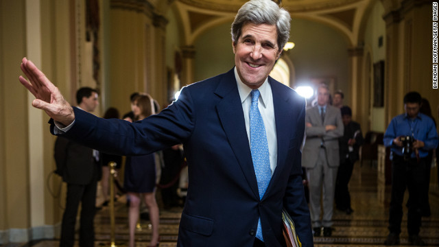  U.S. Sen. John Kerry, D-Massachusetts, walks to the Senate chamber in the U.S. Capitol earlier this month.