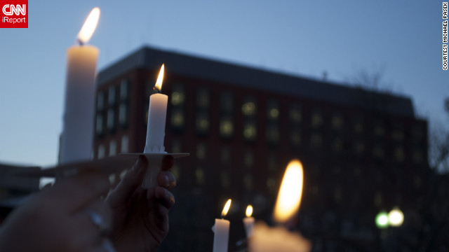 Michael Pasek, 22, of Ardmore, Pennsylvania, attended a vigil on Friday outside the White House in Washington.