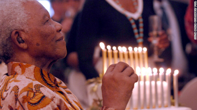 Mandela celebrates his 90th birthday at a celebration in July 2008 in his rural village.