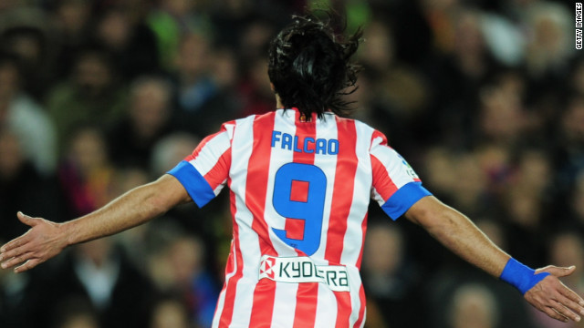 Falcao runs away to celebrate at a stunned Camp Nou as Atletico takes the lead with their third opportunity of a pulsating first-half.