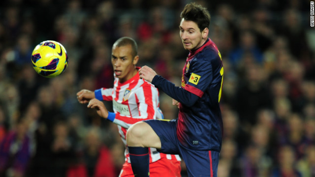 Messi latches onto a defensive mistake and grabs his 90th goal of 2012 to make it 4-1 and send Barca nine points clear of Atletico at the summit.