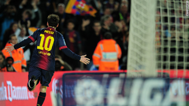 Messi celebrates after scoring his 25th league goal of the season and 34th overall. It's also the sixth league game in a row which Messi has scored twice.