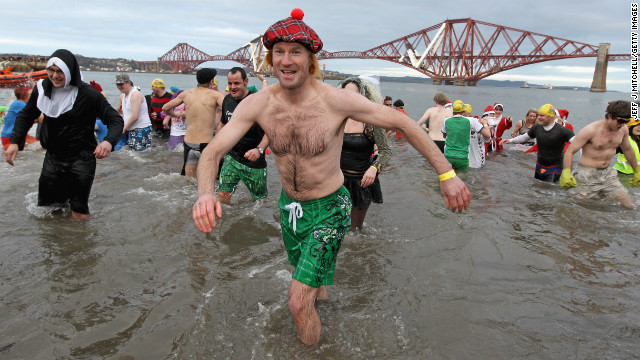 Every year around a 1000 New Year revellers brave freezing conditions in the River Forth in front of the Forth Rail Bridge during the annual Loony Dook Swim.<!-- --> </br><!-- --> </br> Similar sub-zero New Year soaks are found across the chillier corners of the northern hemisphere from Sweden to Siberia.