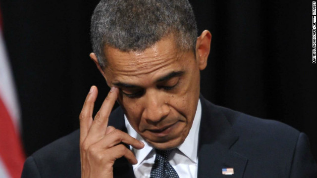 President Obama appears to dab at a tear while delivering his remarks.