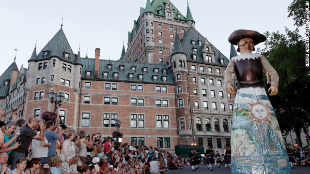 Quebecois celebrate the arrival of their ancestors in Canada at the Nouvelle France festival in the summer.