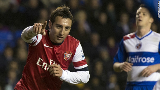 Spanish midfielder Santi Cazorla grabbed his first hat-trick in English football as Arsenal beat Reading 5-2