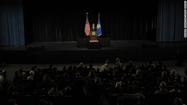 President Barack Obama speaks at a memorial service for victims of the Sandy Hook Elementary School shooting on December 16.