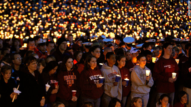 On the Virginia Tech campus in Blacksburg, Virginia, 23-year-old student Seung-Hui Cho went on a shooting rampage, killing 32 people in two locations and wounding an undetermined number of others. Cho later killed himself.
