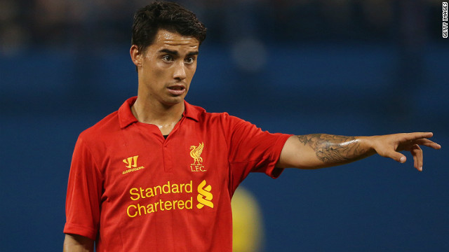 Spaniard Suso has made 13 appearances for English club Liverpool so far in the 2012/13 season