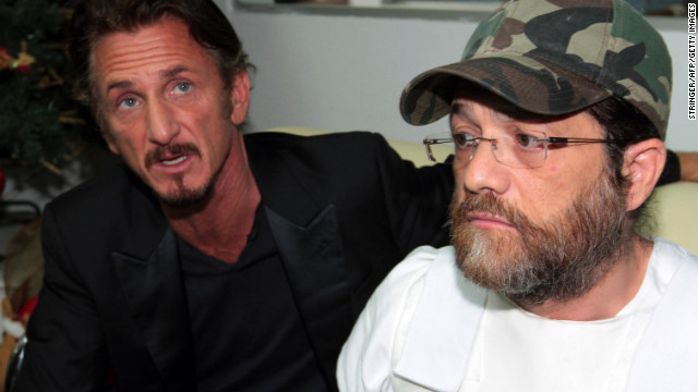 Sean Penn is shown with U.S. businessman Jacob Ostreicher at a news conference in Santa Cruz, Bolivia, in December 2012.
