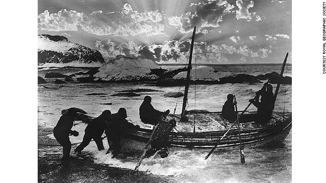This original picture from 1916 shows Ernest Shackleton and his five man crew embarking on the 800 nautical mile rescue mission across the Antarctic after losing their ship in the ice.