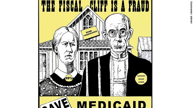 A cropped version of &quot;Save Medicare, Medicaid, Social Security,&quot; by Xavier Viramontes 