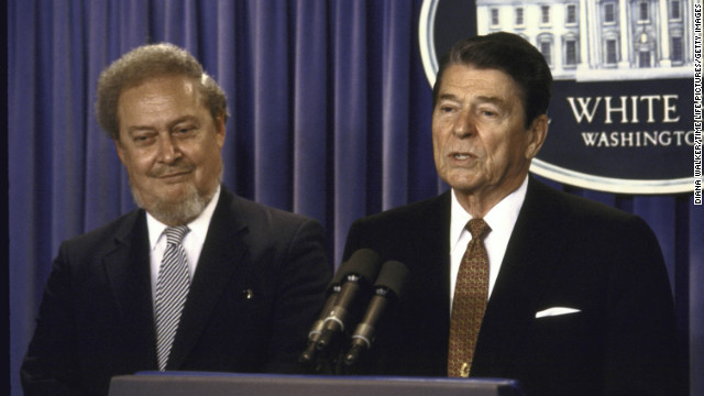 President Ronald Reagan speaks at a 1987 press conference with his Supreme Court nominee Bork. Bork was rejected as a nominee to the high court after a contentious confirmation battle led by left-leaning groups who opposed his conservative judicial philosophies.