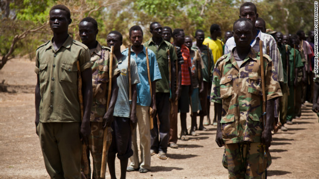 The Sudanese government argues it is fighting a rebellion led by the Sudan People's Liberation Movement. Pictured, SPLA-N soldiers train in the Nuba Mountians, South Kordofan in April 2012.