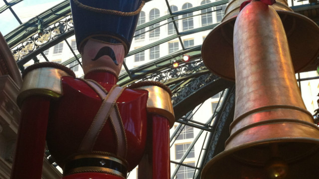 Bigger-than-life-sized Nutcracker in the Bellagio conservatory