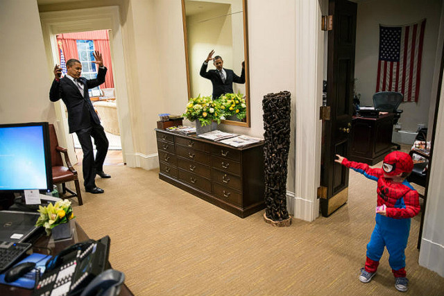 White House photographer Pete Souza snapped this photo of Barack Obama playing with a staffer's son on October 26.