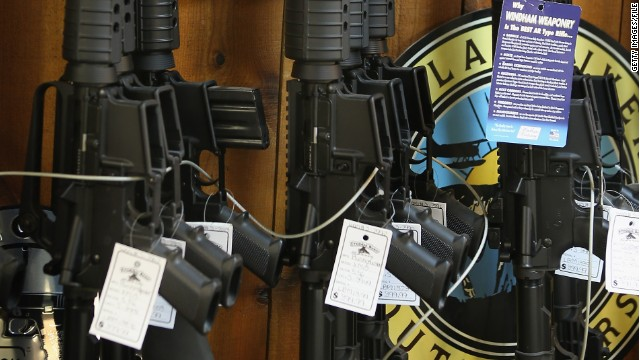 AR-15 style rifles are offered for sale at a sporting goods store in Tinley Park, Illinois, in December 2012 .