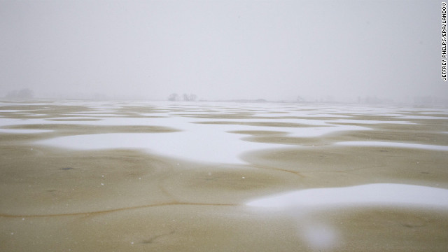 Snow blows on the Horicon Marsh near Waupun, Wisconsin, on December 20.