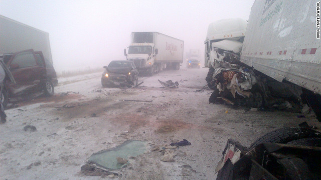 A 30-car pileup Thursday, caused by low visibility as a result of the blizzard, has shut down the southbound lanes of I-35 near Fort Dodge, Iowa, according to Sgt. Scott Bright, the Iowa State Patrol public information officer. Bright said one person was fatally injured in the pileup.