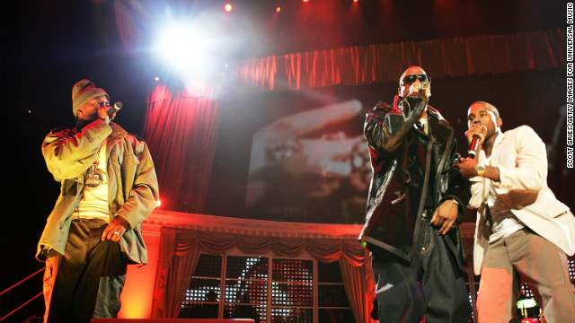 Nas, left, Jay-Z and Kanye West perform during &quot;Powerhouse 2005: Operation Takeover&quot; in East Rutherford, New Jersey. The show marked the end of a years-long beef between Jay-Z and Nas.
