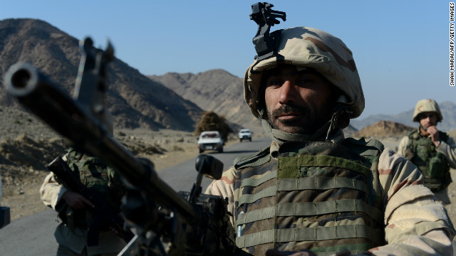 Afghan commando forces guard in Goshti district of Nangarhar province, bordering Pakistan on December 18, 2012.