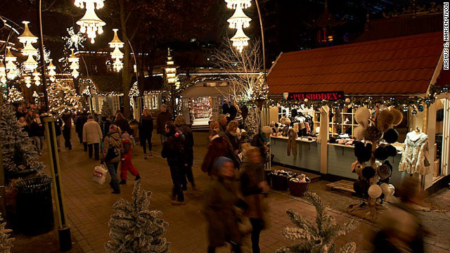 Classic amusement park Tivoli Gardens puts on a festive market in Copenhagen.
