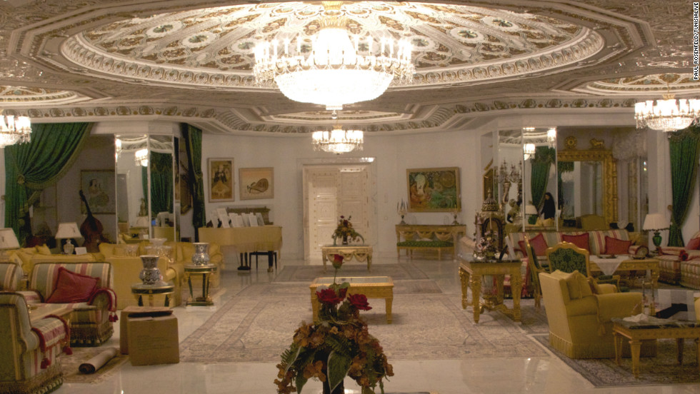 The interior of the former presidential palace of deposed Tunisian President Zine El Abidine Ben Ali, who fled the country with his family in January 2011 amid a popular revolution. The palace is in Sidi Dhrif, in a seafront suburb of capital city, Tunis. Like many Tunisians, journalist Youssef Gaigi had never seen images of the palace before visiting it to report on the state auction of the former dictator's confiscated belongings. The auction takes place Sunday. He told CNN: &quot;It was full of extravagance and extreme luxury and bad taste. All these signs of power ... Nobody could afford to have such things in Tunisia, unless they were the president -- and not just any president, but a dictator.&quot; 