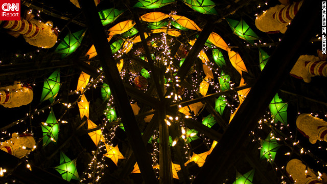 "<a href='http://ireport.cnn.com/people/Keemalexis '>Kim Tinambacan</a> captured this cool image of a Christmas tree entirely made from recycled materials -- such as plastic, Styrofoam and foils -- in Santa Rosa, the Philippines. ""I decided to take this kind of photo because it really symbolizes the true meaning of Christmas ingenuity here in the Philippines,"" she said."