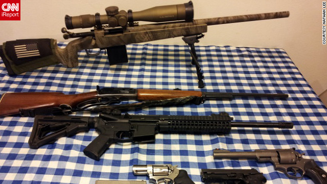 Military style rifles are important to many gun collectors. iReporter Nathan Lee's firearms include a black AR-15 military-style rifle -- seen here second from the top. IReporter Hrothgar-01 said AR-15s are as much a part of the nation's history &quot;as the muskets carried by pioneers&quot; and &quot;the rifles toted by doughboys in the trenches.&quot;