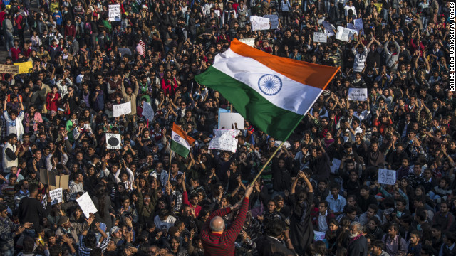 Students chant anti-police slogans on December 22.