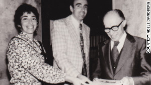Adele and Joel Sandberg present their book of refusenik case histories to Israel\'s Prime Minister Menachem Begin, 1978.