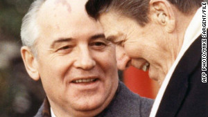 Soviet leader Mikhail Gorbachev arrives for his first U.S. summit with President Ronald Reagan.