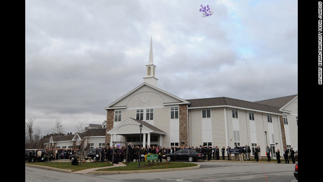 A view from outside the funeral service for 6-year-old Dylan Hockley at Walnut Hill Community Church on December 21.