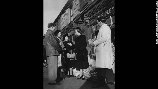 The Conservative Party candidate for Dartford in Kent, England, meets some potential constituents in January 1950.